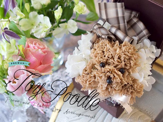 ワンちゃん好きの方へのプレゼントに大人気かわいいトイプードルのアレンジメントですたくさんかわいがってあげてくださいね