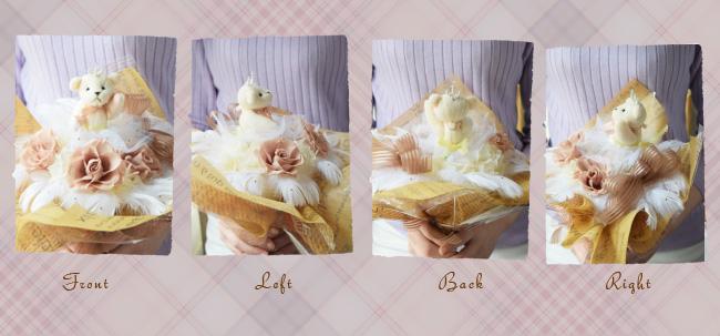くまリーナちゃんのティアラのトップは、なんと本物のスワロフスキー!素材にもとことんこだわるF'sCafe。輝きの違いが本物の証です。